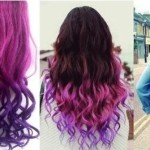 SUMERSHA Fashion Sexy Two Tone Long Curl/curly/wavy Clip in Hair Extensions Pieces Wig Girls, Shade Hot Pink to Dark Purple