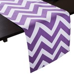 LinenTablecloth Purple and White Chevron Table Runner, 13 x 90-Inch