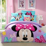Sisbay Lovely Minnie Mouse Bedding Set Queen for Child,Girls Princess Purple Duvet Cover,Fashion Disney Cartoon Bed Sheets Blue,5pcs