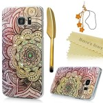 S7 Edge Case,Samsung Galaxy S7 Edge Case – Mavis's Diary 3D Handmade Bling Crytal Colorful Shiny Diamond Retro Totem Pattern Hard Clear PC Cover with Protective Bumper & Flower Dust Plug & Stylus Pen