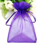SumDirect 100Pcs 4″x6″ Sheer Drawstring Organza Jewelry Pouches Wedding Party Christmas Favor Gift Bags (Purple)