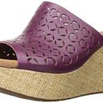 Clarks Women's Caslynn Dylan Wedge Sandal, Plum Leather, 9 M US