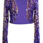 Anna-Kaci Mesh Purple Silver Sequin Long Sleeve Bolero Shrug Cropped Jacket