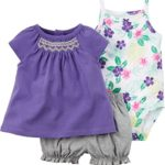 Carter's 3-Piece Bodysuit & Diaper Cover Set, Purple, 6 Months