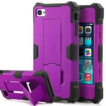 iPhone 4 Case, iPhone 4S Case, SKYLMW Powerful Protection [Built In Kickstand], Hybrid Hard Soft Durable Bumper Case Armor Case Back Cover Case for Apple iPhone 4 4S Purple