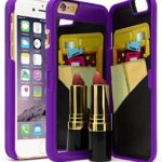 Bastex Hidden Back Mirror Wallet Case with Stand and Card Holder for Apple iPhone 6 / 6S – Purple