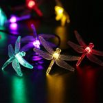 LUCKLED Dragonfly Solar String Lights, 16ft 20 LED 8 Modes Fairy Lights with Sensor for Outdoor, Gardens, Homes, Wedding, Christmas, Party and Holiday Decor(Multi-Color)