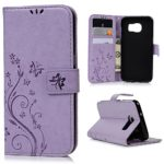 S7 Edge Case, Samsung Galaxy S7 Edge Case – BADALink Premium PU Leather Wallet Vintage Embossed Flower Protective Magnetic Slim Folio Flip Cover & Hand Strap & Card Holders & Soft Inner Case – Purple