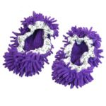 Pair House Floor Polishing Dusting Cleaning Foot Socks Shoes Mop Slippers Purple by Amico