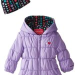 London Fog Baby Girls Ruffle Puffer, Purple, 24 Months