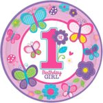 Amscan Sweet Birthday Girl 1st Birthday Purple Round Plates, 10.5″, Pink/Purple
