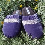 Huntington Velvet Corduroy Women's Size US 8/9 38/39 Light and Dark Purple Adorned Seed Pearl Slippers Slipper Cute Girly House Shoes