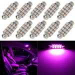 Partsam Pink Purple LED Bulbs 42mm Festoon (1.7″) Car Interior Dome Map Lights 12-SMD 12V 211-2 212-2 569 578 (Pack of 10)