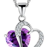Tyjewelry Womens 14k Gold Plated Amethyst Heart Shape Pendant Necklace (Purple,18″)