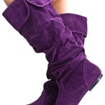Qupid FAUX SUEDE SLOUCH MID CALF COLLAR FLAT BOOTS 8 purple