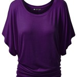 LL Womens 3/4 Sleeve Drape Top XL DARK_PURPLE