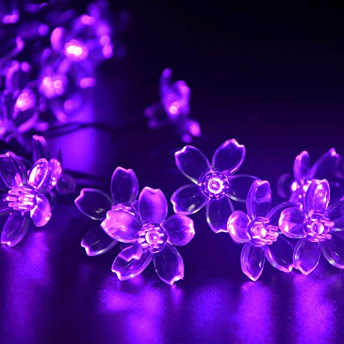 ledertek solar christmas flower fairy string lights 21ft 50 led blossom decorative light for garden lawn patio tree wedding party bedroom holiday
