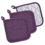 DII 100% Cotton, Machine Washable, Quilted Everyday Heat Resistant Kitchen Basic Terry Potholder Set of 3, Eggplant