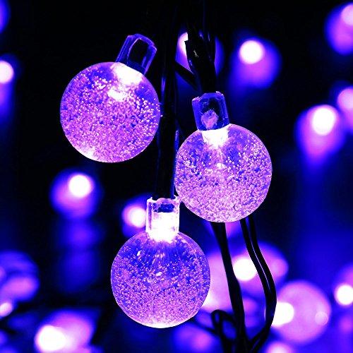 ledertek decorative christmas solar powered globe lights 30 led purple 197ft crystal ball fairy string light for xmas tree garden patio lawn holiday - Christmas Globe Lights