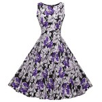 ACEVOG Vintage 1950's Floral Spring Garden Party Picnic Dress Party Cocktail Dress (L, Gradient Purple)